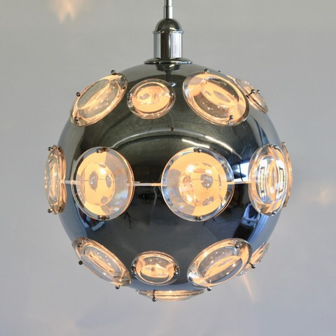 Chrome Plated Pendant Lamp by Oscar TORLASCO, 1960's