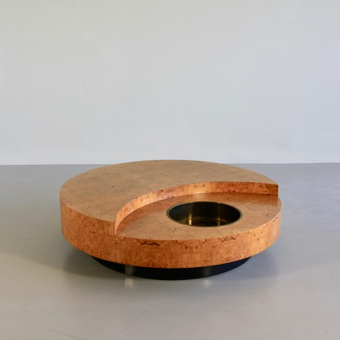 Coffee Table (burl wood) by Willy RIZZO, 1972, SIGNED