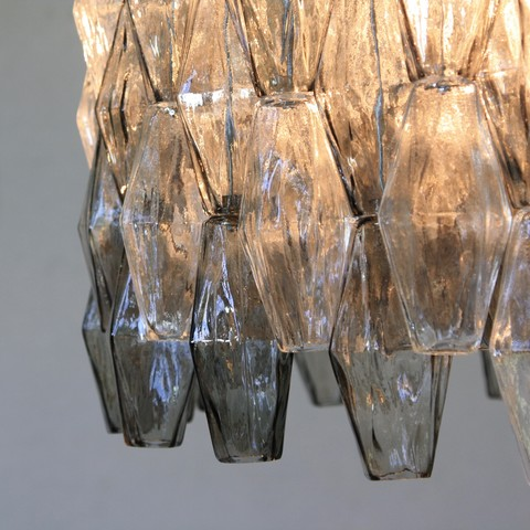 MURANO Glass Chandelier (Clear & Grey) by Carlo SCARPA, Italy