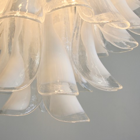MURANO Glass Saddle Form Chandelier (White)