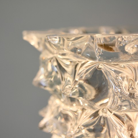 MURANO Glass Table Lamp, Italy (clear spikes)