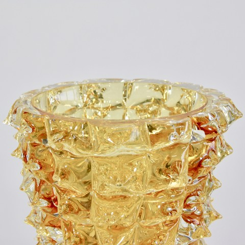 MURANO Glass Vase, Italy (Yellow spikes)
