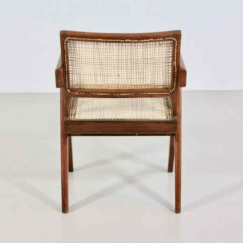 Pair of Pierre Jeanneret Cane Chair for Chandigarh, 1950's.