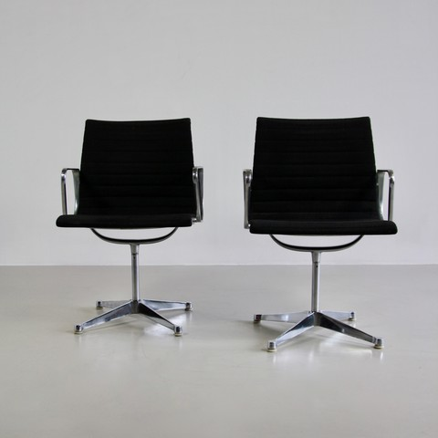 PAIR of Very Early EAMES Aluminium Chairs, 1950's