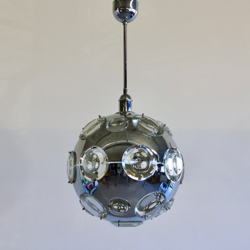 Chrome Plated Pendant Lamp by Oscar TORLASCO, 1960