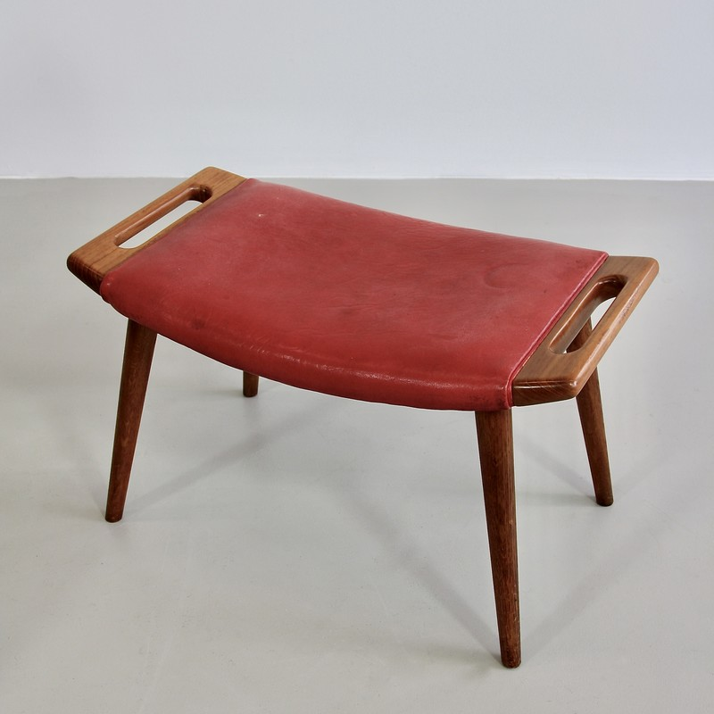 papa-bear-chair-hans-j-wegner-red-leather-footstool-space-and-chrome-vintage-footstool