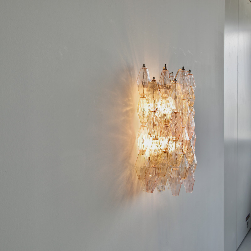 Large Poliedri Glass Wall Sconce by VENINI, 1960