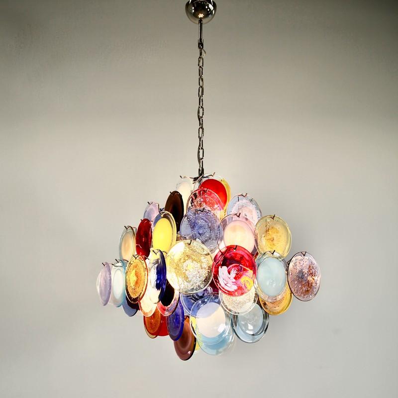 Multi-Colored Murano Glass Chandelier from Vistosi, 1988