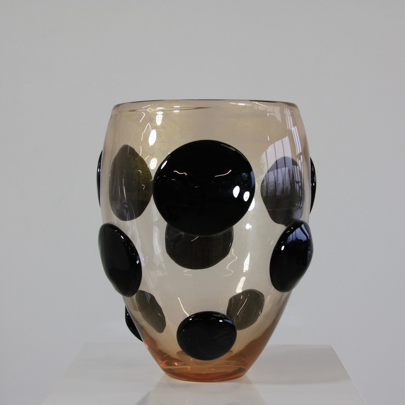 MURANO Glass Vase, Italy (Black Spots and Golddust)
