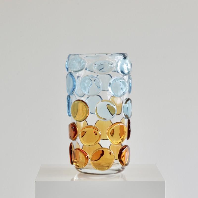 MURANO Glass Vase, Italy (light blue and orange)