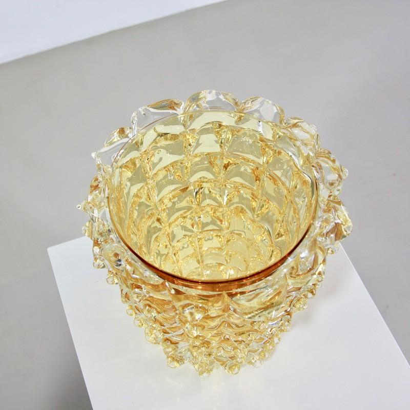 MURANO Glass Vase, Italy (Yellow spikes)