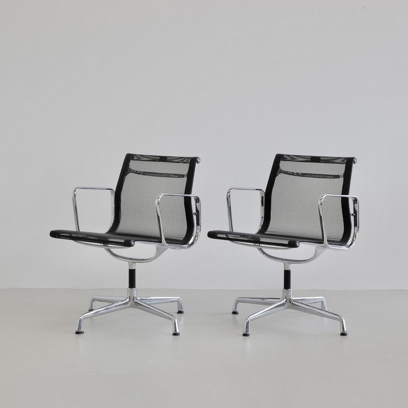 PAIR of Charles & Ray EAMES Aluminium Office Chairs (EA108)