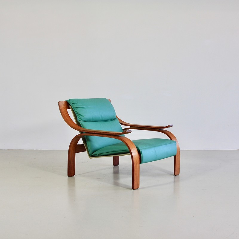 PAIR of green leather Armchairs by Marco ZANUSO, 1964