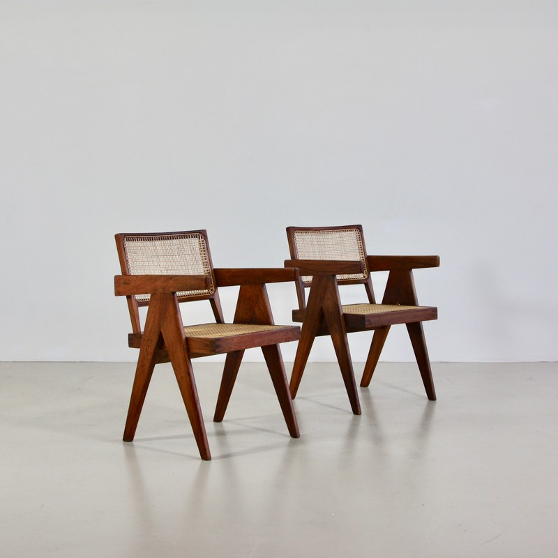Pair of Pierre Jeanneret Cane Chair for Chandigarh, 1950