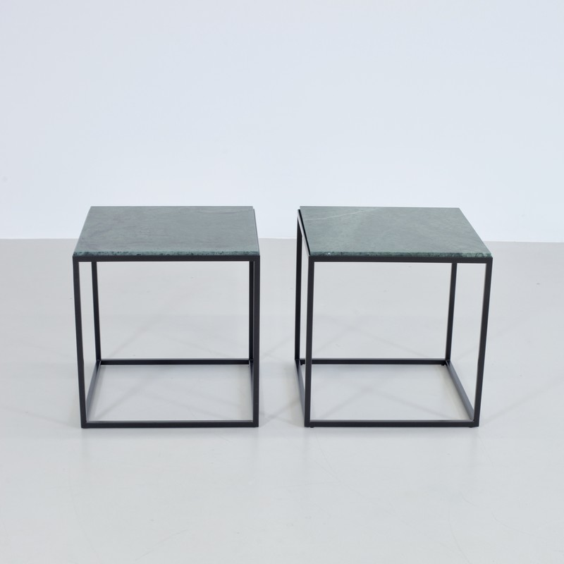 PAIR of Side Tables with Green Marble Tops