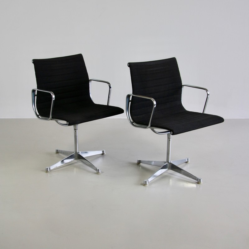 PAIR of Very Early EAMES Aluminium Chairs, 1950