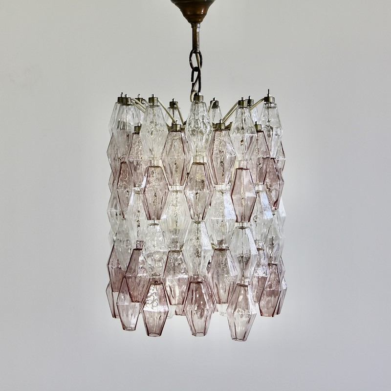 Polyhedron Chandelier by Carlo SCARPA, Murano Glass (clear/ purple)