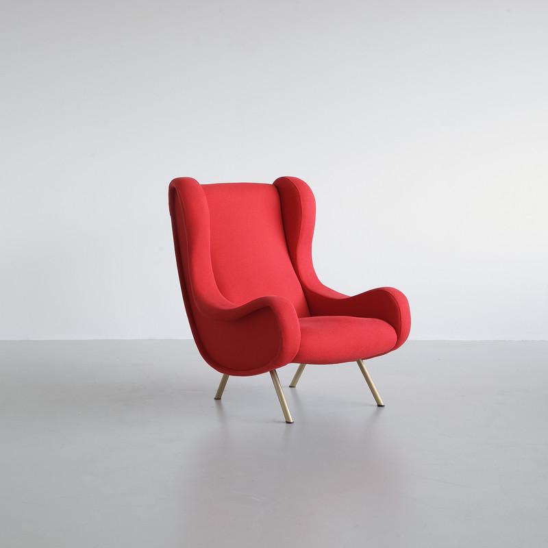 SENIOR Armchair by Marco ZANUSO, Arflex Italy (red upholstery)