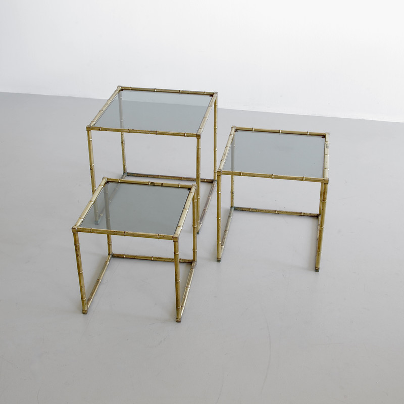 Set of Faux Bamboo Side Tables, France 1960s