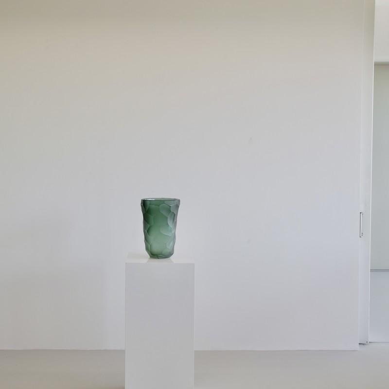 Signed MURANO Glass Vase, Italy (green)