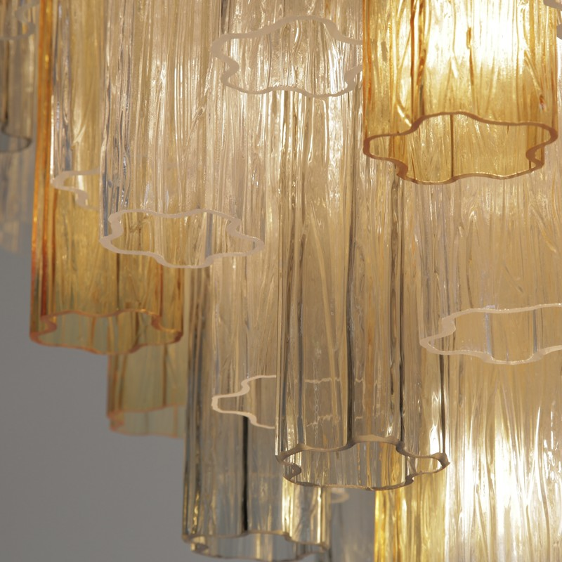 Tronchi MURANO Glass Chandelier (amber, clear, brown), Italy