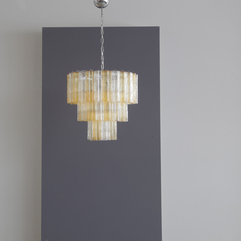 Tronchi MURANO Glass Chandelier (amber/ clear), Italy