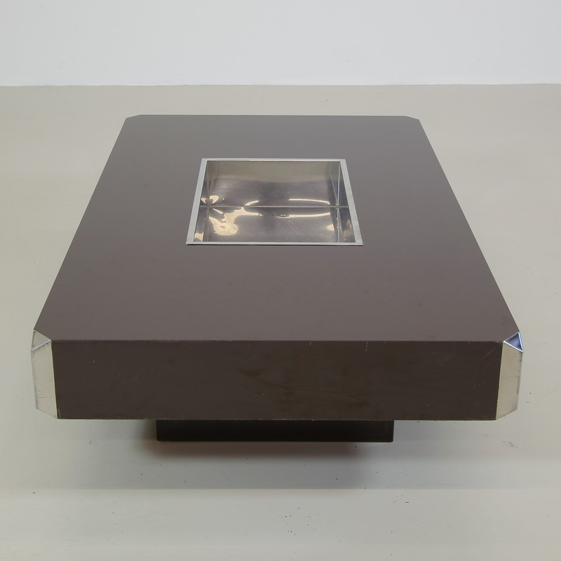 Willy RIZZO Coffe Table with metal Tray, 1974