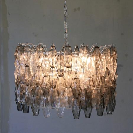 MURANO Glass Chandelier (Clear & Grey) by Carlo SCARPA, Italy