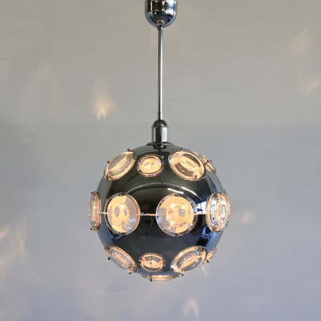 Chrome Plated Pendant Lamp by Oscar TORLASCO, 1960