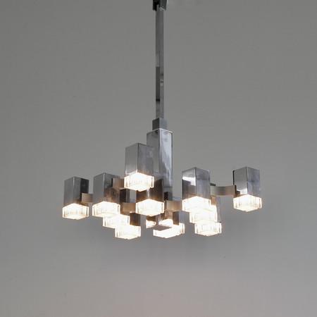 Hanging Lamp by Gaetano SCIOLARI (12 lights), 1960s