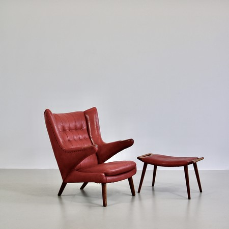 papa-bear-chair-hans-j-wegner-red-leather-footstool-space-and-chrome-vintage