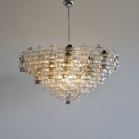 Manubri MURANO Glass Chandelier (clear/ smoke glass)