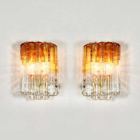 PAIR of Wall Sconces by VENINI, Italy 1960