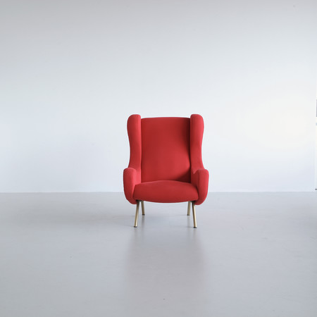 SENIOR Armchair by Marco ZANUSO, Arflex Italy (red upholstery)
