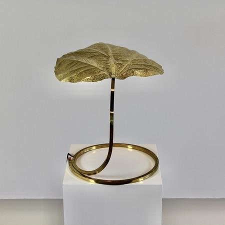 Vintage Rhubarb Leaf Tabler Lamp by Tommaso BARBI, 1970